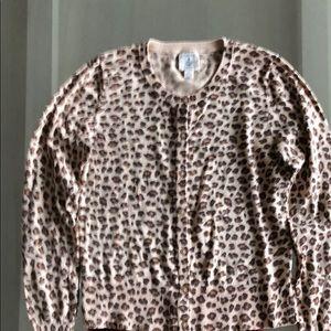 Lands' End leopard print cardigan Girls 10-12